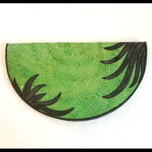 Huge Vintage Green Woven Clutch - Lisette New York